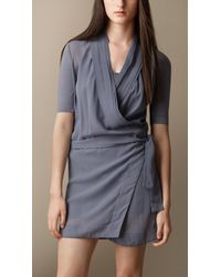 Burberry Silk Georgette Wrap Dress - Lyst
