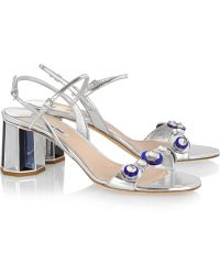 Miu Miu Embellished Metallic Leather Sandals - Lyst