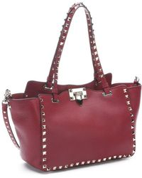 Valentino Scarlet Red Leather Rockstud Convertible Trapeze Tote - Lyst