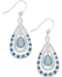 Style & Co. | Silver-tone Ice Blue Triple Teardrop Earrings | Lyst