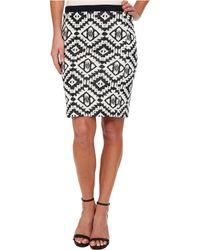 Karen Kane Indigo Jacquard Skirt - Lyst