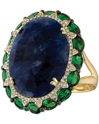 Marco Moore - 14k Yellow Gold, Green Garnet, Diamond And Sodalite Ring - Lyst