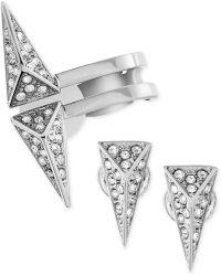 Swarovski Birth Rhodium-plated Crystal Pave Triangle Stud and Cuff Earring Set - Lyst