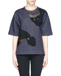 Stella McCartney Flower Embroidery Scuba Jersey Top blue - Lyst