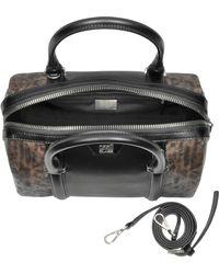 Class Roberto Cavalli - Signature Collection Black & Leopard Print Medium Bowling Bag - Lyst