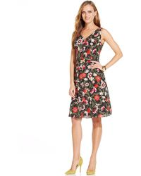 Jones New York Sleeveless Floral Print Belted Fit  Flare Dress - Lyst