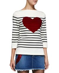 Marc Jacobs 3/4-Sleeve Striped Top W/ Heart - Lyst