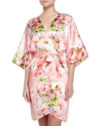 Oscar de la Renta - Garden Party-Print Short Wrap Robe - Lyst