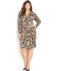 Calvin Klein Plus Size Printed Faux-wrap Dress - Lyst