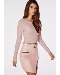 Missguided Ribbed Long Sleeve Crop Top Lilac - Lyst