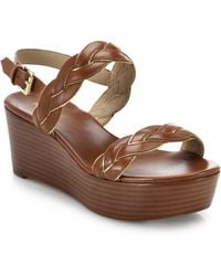 Michael Kors Gabrielle Leather Stacked Wedge Sandals brown - Lyst