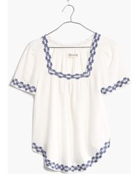 Madewell Arrowstitch Peasant Top white - Lyst