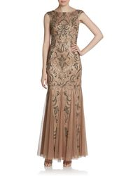 Adrianna Papell Beaded Baroque Capsleeve Dress - Lyst