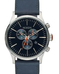 Nixon | Blue/orange Sentry Chrono Leather Watch | Lyst