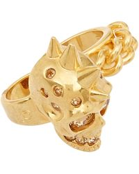 Alexander McQueen Small Gold-tone Double Punk Chain Skull Ring - Lyst