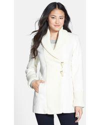 Vince Camuto Knit Trim Wool Blend Coat (Online Only) (Regular & Petite) - Lyst