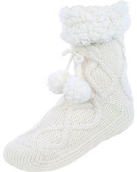 Jane Norman - Cable Knit Slipper Socks - Lyst