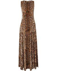 Michael Kors Leopard Print Maxi Dress - Lyst