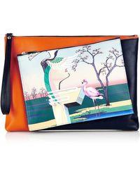 Mary Katrantzou Flamingo-Print Detachable Leather Clutch - Lyst