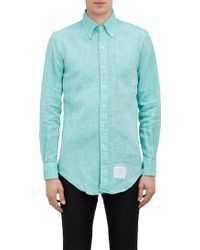 Thom Browne Green End-on-end Shirt - Lyst