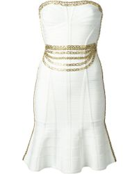 Hervé Léger Chains Embellished Body Con Dress - Lyst