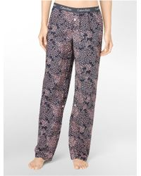 Calvin Klein Printed Roll-up Cotton Pajama Pants - Lyst