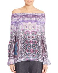 Nanette Lepore | Gypsy Printed Silk Off-the-shoulder Top | Lyst