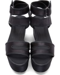 Pierre Hardy Black Satin Wedge Sandals - Lyst
