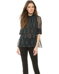 Vera Wang Collection - Long Sleeve Trapeze Top - Charcoal - Lyst