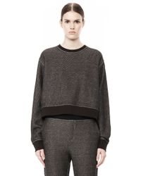 Alexander Wang Cotton Twill French Terry Cropped Sweatshirt - Lyst