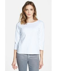 Eileen Fisher Ballet Neck Organic Cotton Tee white - Lyst