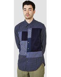 Rough & Tumble - Cut & Sew Block Shirt Navy Small Polkadot - Lyst