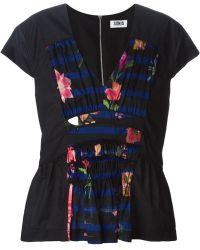 Sonia by Sonia Rykiel Pleated Floral Print Panel Top - Lyst