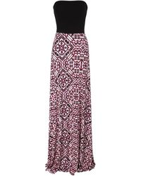 Jane Norman Strapless Tile Print Maxi Dress - Lyst