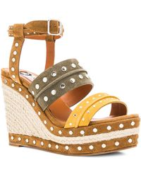 Lanvin | Studded Suede Wedge Sandals | Lyst