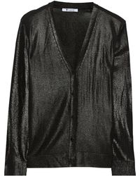 T By Alexander Wang Foil-print Knitted Cardigan - Lyst