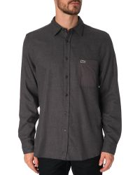 Lacoste Flecked Grey Flannel Shirt - Lyst