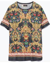 Zara Short Sleeve T-Shirt multicolor - Lyst
