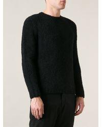 Kris Van Assche Textured Crew Neck Sweater - Lyst