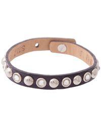 Bungalow 20 - Purple Leather Bracelet With Silver Swarovski Studs - Lyst