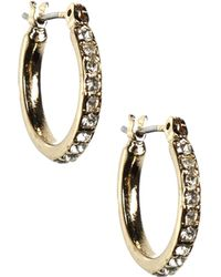 Anne Klein - Gold Tone And Crystal Earrings - Lyst