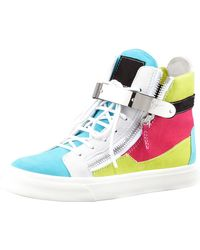 Giuseppe Zanotti Hightop Buckled Colorblock Sneaker - Lyst