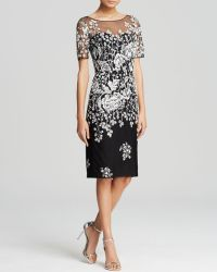 Badgley Mischka Dress - Short Sleeve Illusion Beaded Floral - Lyst
