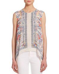 BCBGMAXAZRIA Cailin Floral-Print Draped Silk Top floral - Lyst