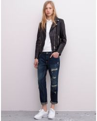 Pull&Bear Boyfriend Jeans With Patches - Lyst