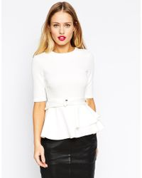 Asos Bonded Peplum Top With Belt - Lyst