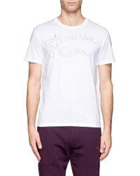 Alexander McQueen Zip Text Jersey Tshirt - Lyst