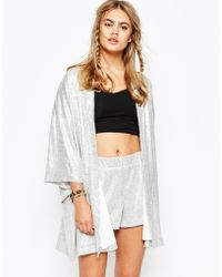 Jaded London - Kimono In Holographic Sequin Co-ord - Lyst