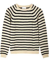 Ganni Striped Wool Sweater - Lyst