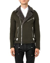 Balmain Jersey and Shearling Biker Jacket - Lyst